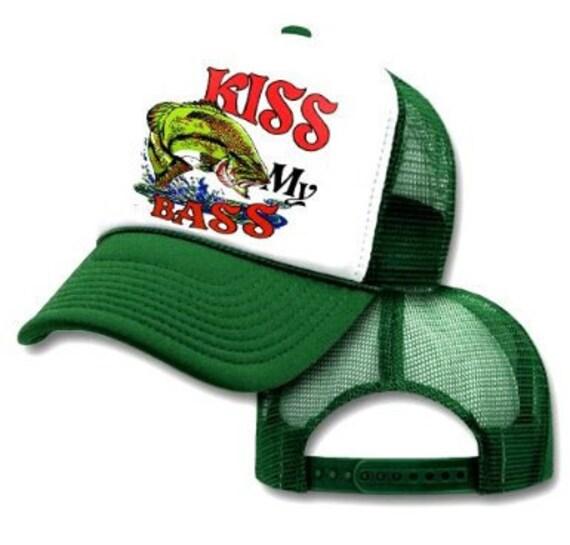 Kiss my bass fishing mesh trucker hat cap by thatsradcom for Bass fishing hats