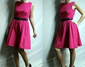 Womens upcycled vintage modest hot pink dress size small medium above knees with blue sash
