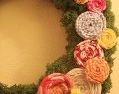 SALE The Bee's Knees Fabric Flower & Moss Wreath
