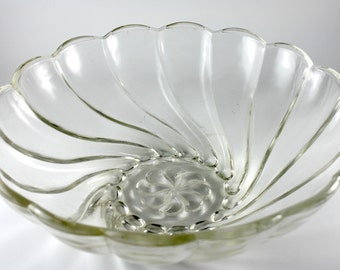 Vintage Glass Bowl, Swirl Design, Heavy Glass, Very Good Condition, Amazing Texture