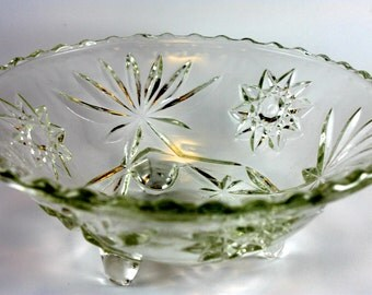 Anchor Hocking, Cut Glass, Vintage Glass Dish, 1960s
