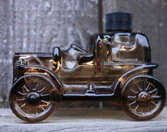 Avon Car Tai Winds, Amber Glass, Empty Cologne Bottle, Collectable Avon