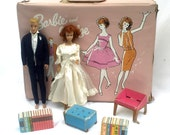 SALE Barbie Vintage 1960s Midge Doll, Ken Doll, Barbie Case, Barbie Clothes, Redhead Midge Painted Hair Ken Dolls, 20% Off at Checkout