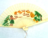 Vintage Fan, Hawaii 1960s, Hawaiian Islands Memorabilia, Hula Dancer, Pink Tassel, Cute, Great Condition, CoryBeesAttic