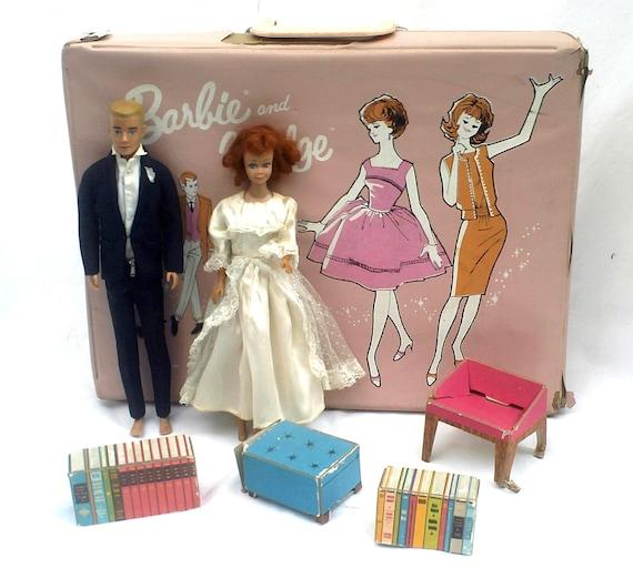 SALE Barbie Vintage 1960s Midge Doll, Ken Doll, Barbie Case, Barbie Clothes, Redhead Midge Painted Hair Ken Dolls, 20% Off at Checkout
