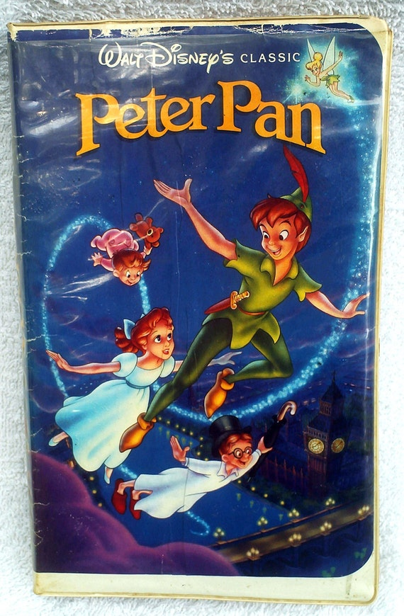 Vintage Disney VHS Movie, Peter Pan Video, VHS Tape with Case, Captain Hook, Tinkerbell, 1990s CoryBeesAttic