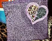 Handmade Kitsch Zipper Pouch Bag Leopard and Purple Retro Punk inspired Kitschy