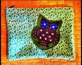 Handmade Owl Zipper Pouch Retro Fabric Vintage Detailings Green Gray and Blue