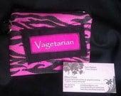 "Pink zebra  stripe coin small clutch/key chain. ""Vagetarian"" 5.5""x4"