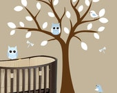 Blue nursery owl decal tree - 0325