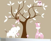 Girls curvy tree and jungle wall stickers light pink animal wall decals - 0272