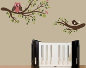 Childrens Nursery wall decal, Owl sitting on a tree branch wall decal, bird branch sticker - 0158