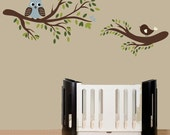 Branch wall decal sticker with bird and owl