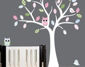 Childrens nursery decal - white tree wall decal - patterned owls, birds and leaves - 0178