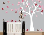 Wall Decal - childrens wall decals white tree wall decal red and pink birds sticker - 0122