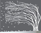"Modern wall decal white tree blowing leaves wall decal 108"" wide by 90"" high - 0169"