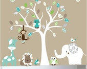 Nursery wall decal - Childrens white tree jungle safari decals tree - 0086