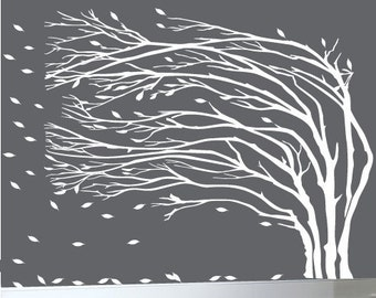 "Modern wall decal large white tree blowing leaves wall decal 108"" wide by 90"" high - 0090"