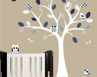 Childrens wall decal white nursery wall tree owl decals - 0185