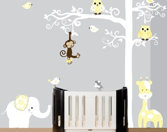 White Childrens Decal, Wall Decal Tree, Tree Decal Wall, Nursery Wall Decor, Nursery Jungle Decal, Tree Wall Decal