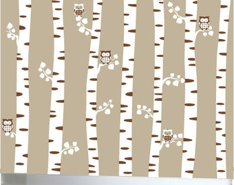 Childrens white birch trees wall decal with brown owls - 0373