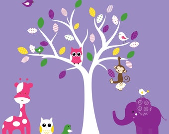 Children's jungle wall decal with purple pink green yellow - 0118