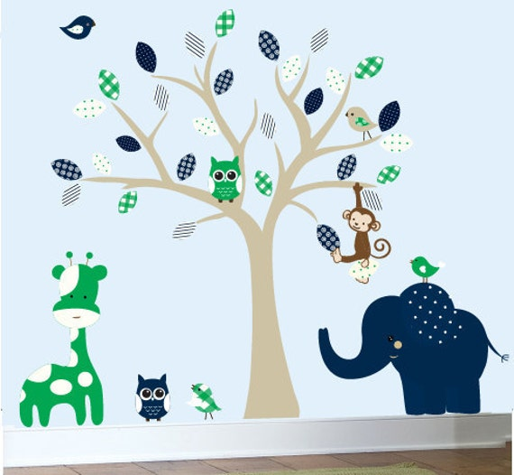 Childrens wall decals safari jungle tree decals navy and green - 0394
