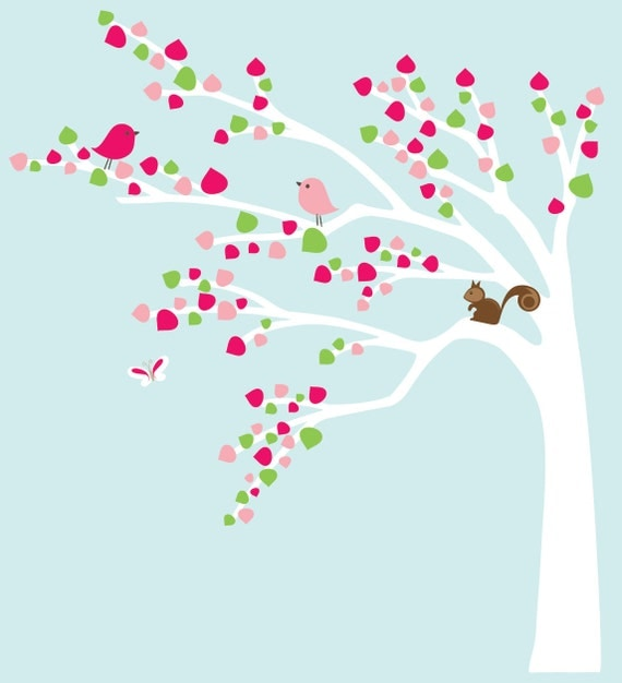 Modern tree decal white tree wall sticker pink - Custom listing for R.
