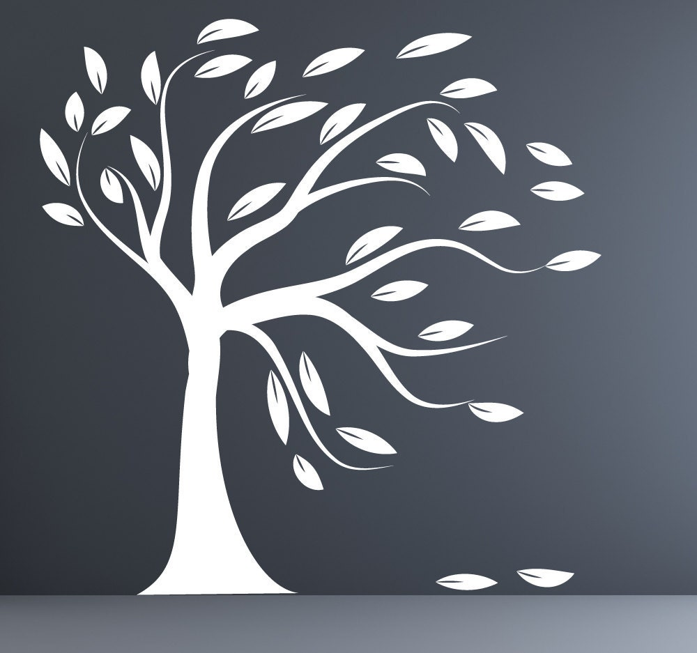 modern decal silhouette tree wall sticker white by