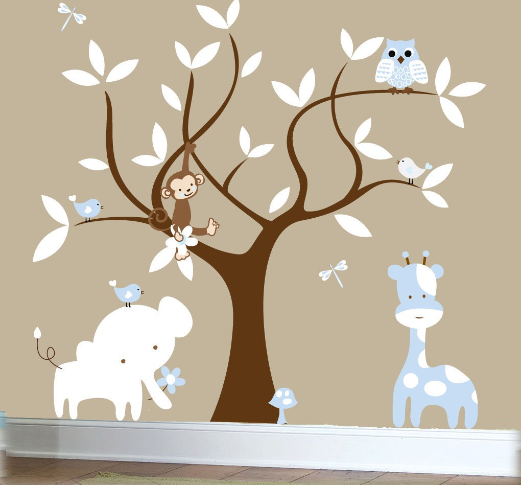 Boys nursery jungle decal set tree wall decal by couturedecals