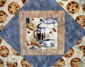 """Coffee Shop quilted wall-hanging 39""""X48"""""""