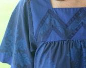 Hawaiian Aloha Muumuu Mini Dress - Royal Blue and Navy