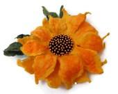 Felt Sunflower yellow green/ Wool Flowers/ Hand Felted Brooch / gift for her