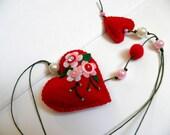 felt heart, holiday ornament, felt bookmark, Felt ornaments, felt toy, red heart, felt Heart , gift for child