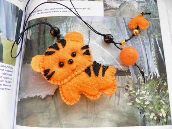 Father's Day gift, Felt bookmark with a tiger / felt toy /Decorating/ felt toy/ gift for child / Personalized Bookmark / Ready to Ship