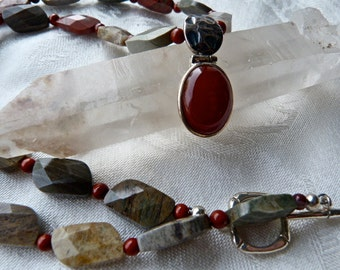 Carnelian and Faceted Silver Leaf Jasper Pendant Necklace - Earthy Elegant Necklace
