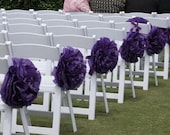 10 Assembled  with Ribbon Wedding Ceremony Aisle Pom Poms/We Customize.Free 4 smaller pom poms