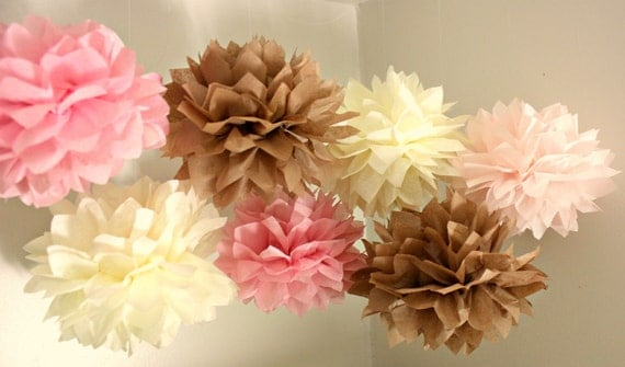 ON SALE 5 Tissue Pom Poms - Chic Goddess Collection -