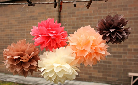 ON SALE Fall Wedding Decor 5 Tissue Pom Poms - Weeding Decorations / Baby Shower Decor / Childrens room / Sweet 16 / Nursery Decor