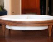 Vintage Glassbake Divided Vegetable Bowl in Wood Stand