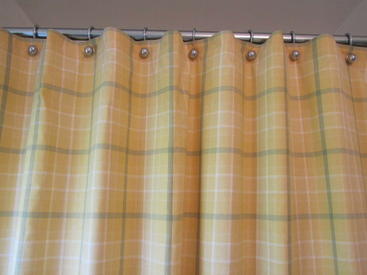 Yellow And Green Handmade Shower Curtain For Your Mid-century