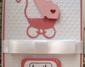 Handmade Card -Congratulations Baby Girl Card-Pink