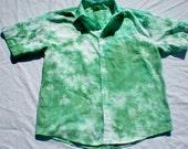 men's collared shirt- green tie dye