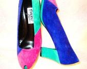 RESERVED///////////  Vintage 80s Colorblock Suede Peep-toe Women's Pumps/High Heels - Size 7