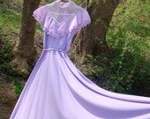Vintage 70s Lilac Victorian Style Prom Dress