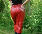 Vintage 80s Lipstick Red Leather Rockabilly Pencil Skirt. Midi Fire Engine Red - Size 8 M Medium