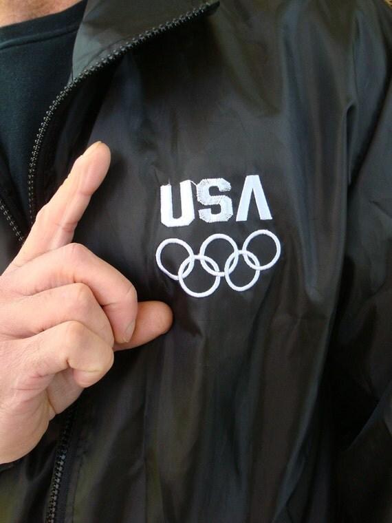 USA OLYMPICS Black Windbreaker - Size M