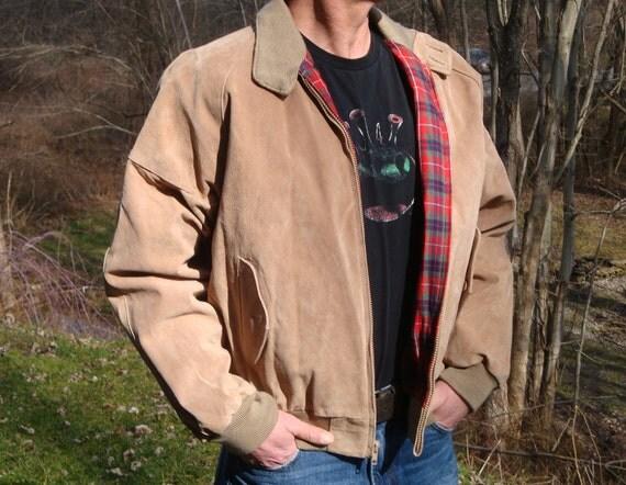 RESERVED//// Vintage Tan Suede Bomber Jacket Mens Leather Coat Red Plaid Lining - Rebel Rouser - Peter Fonda James Dean Size L