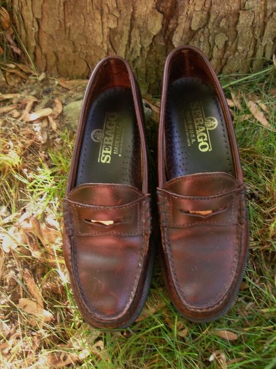 Vintage Sebago Penny Loafers Oxblood Shoes Size 7 M