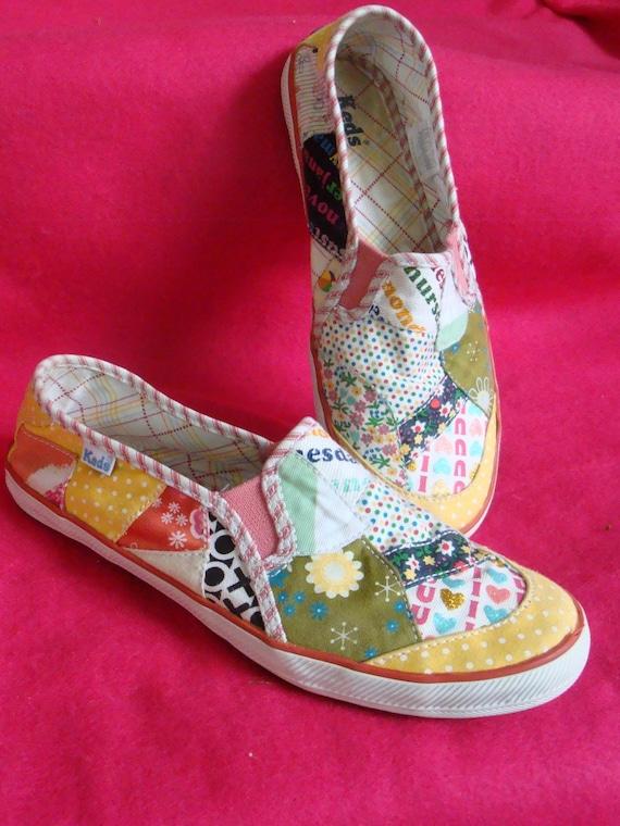 Vintage Keds Patchwork Flowers Slip On Sneakers Pink